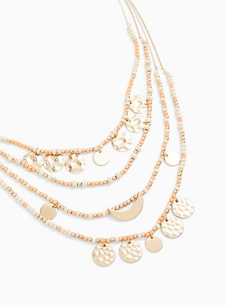 Coral Bead & Gold-Tone Coin Layered Necklace, , hi-res