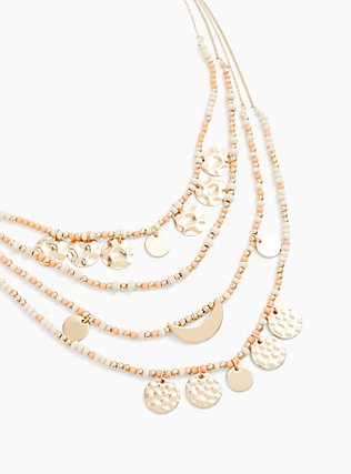 Plus Size Coral Bead & Gold-Tone Coin Layered Necklace, , hi-res