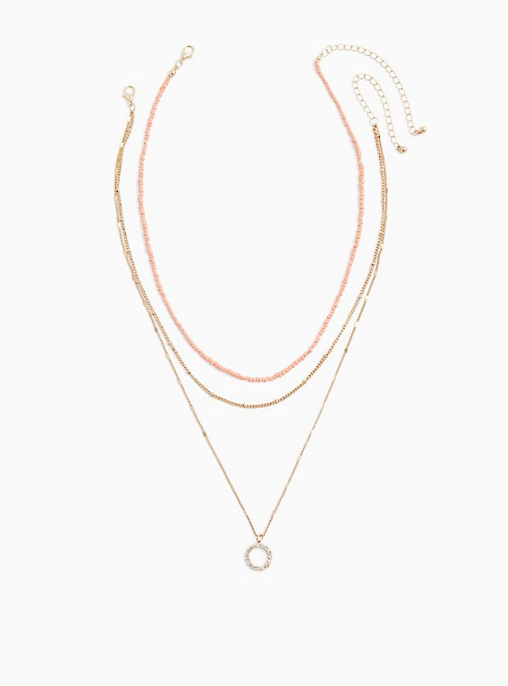 Plus Size Coral Beaded Choker & Gold-Tone Layered Necklace Set - Set of 2, , hi-res
