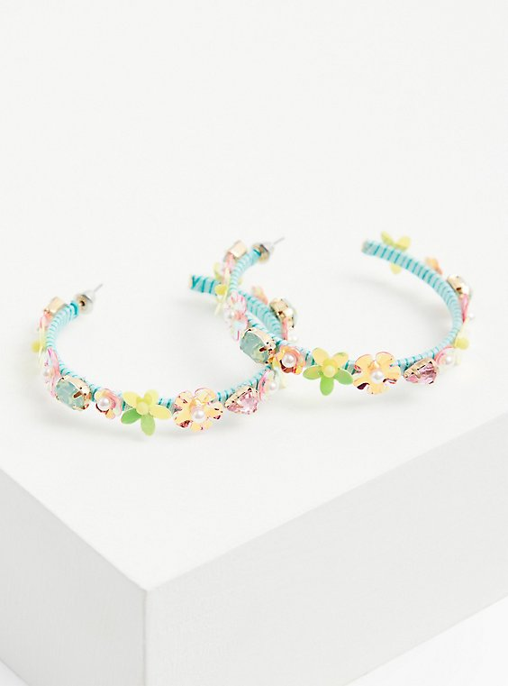 Turquoise & Iridescent Floral Hoop Earrings, , hi-res