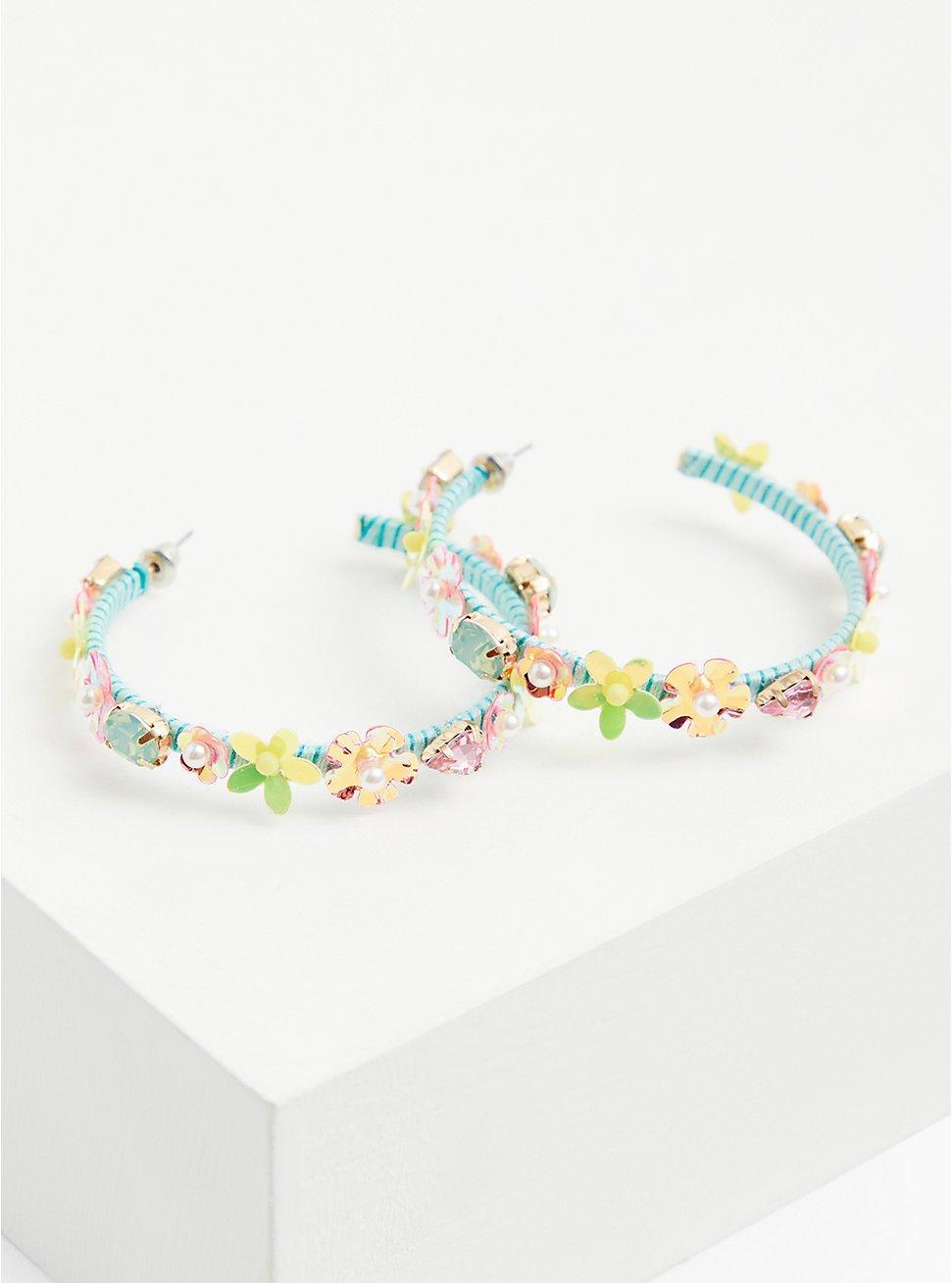 Turquoise & Iridescent Floral Hoop Earrings, , hi-res