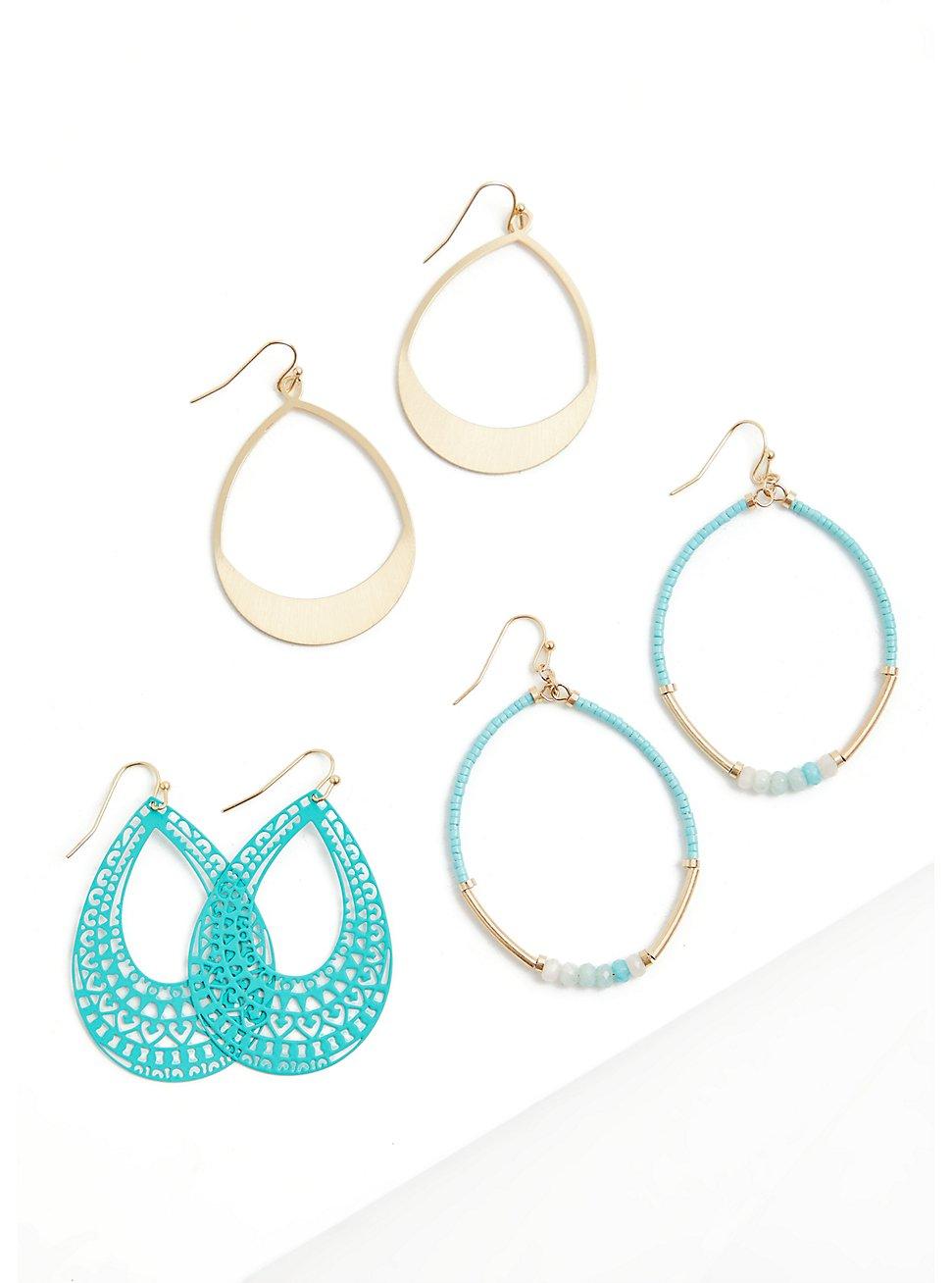 Turquoise Teardrop Earrings Set - Set of 3, , hi-res