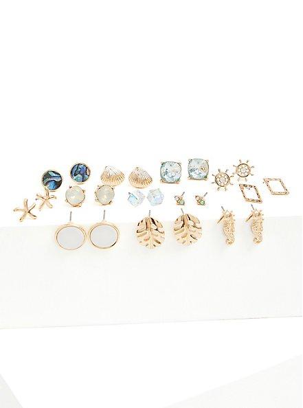 Plus Size Gold-Tone Seashell Earrings Set - Set of 12, , alternate