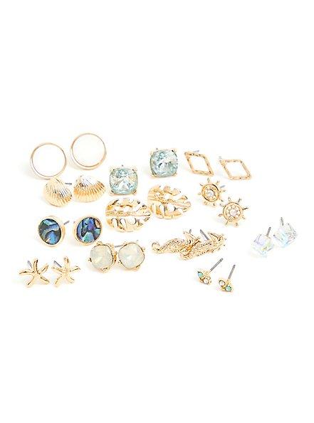 Plus Size Gold-Tone Seashell Earrings Set - Set of 12, , hi-res