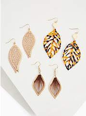 Gold-Tone Leaf Earrings Set - Set of 3, , alternate
