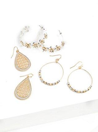Silver-Tone & Gold-Tone Floral Hoop Earrings Set - Set of 3, , alternate
