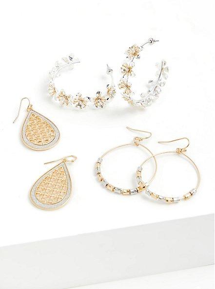 Silver-Tone & Gold-Tone Floral Hoop Earrings Set - Set of 3, , hi-res