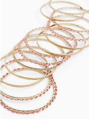 Gold-Tone & Deep Coral Bead Bangle Set - Set of 13, CORAL, alternate