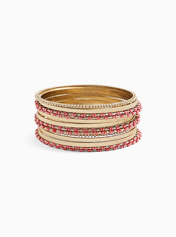 Gold-Tone & Deep Coral Bead Bangle Set - Set of 13, , hi-res