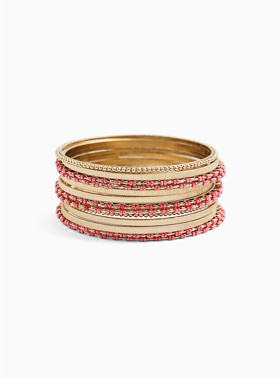 Gold-Tone & Deep Coral Bead Bangle Set - Set of 13, CORAL, hi-res