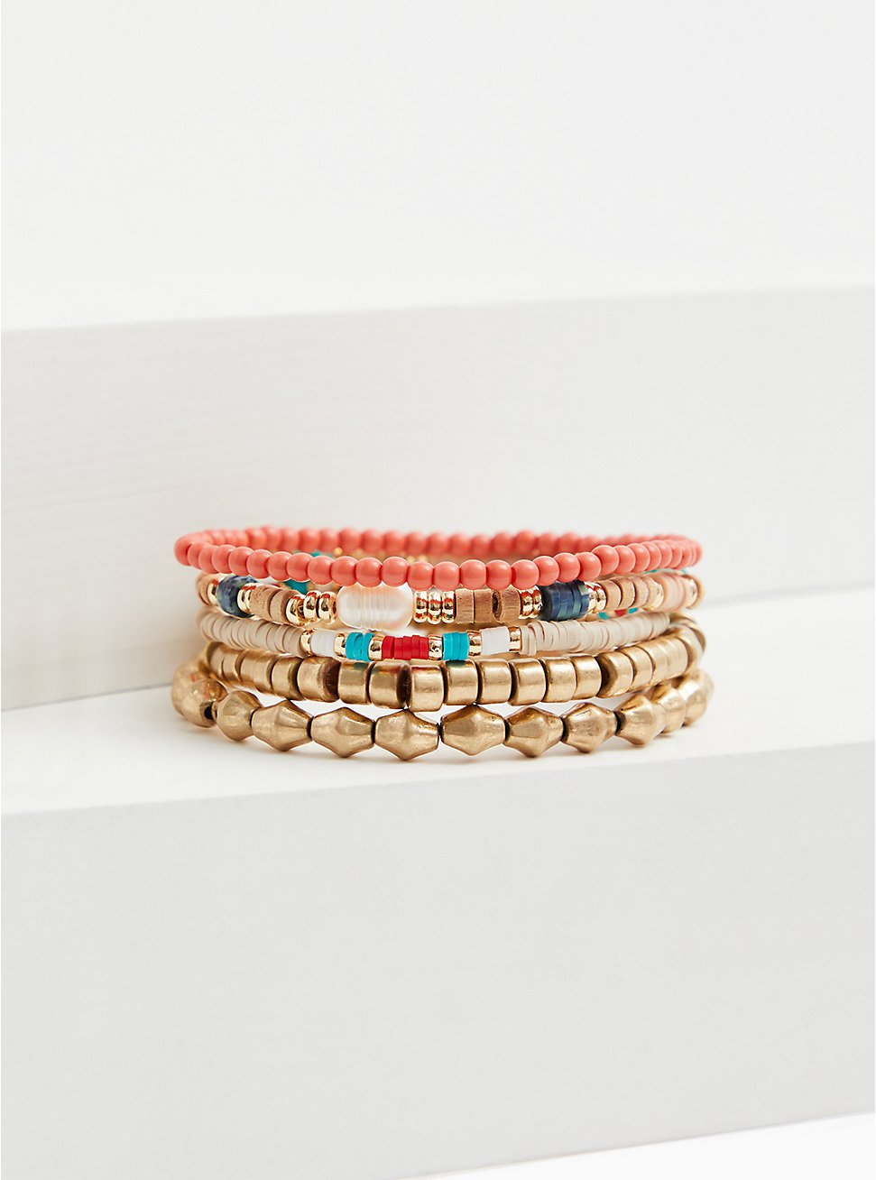 Gold-Tone & Multi Bead Stretch Bracelet Set - Set of 5, CORAL, hi-res