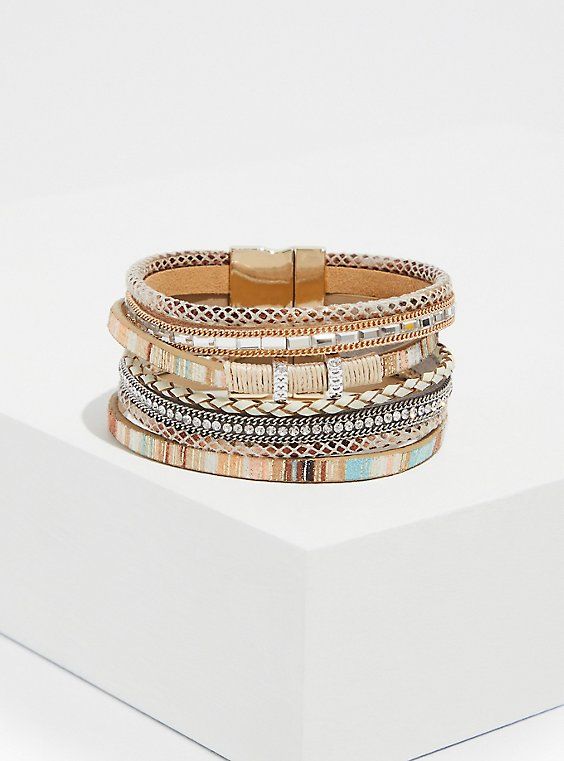 Multi Stripe Faux Leather Magnetic Bracelet , , hi-res