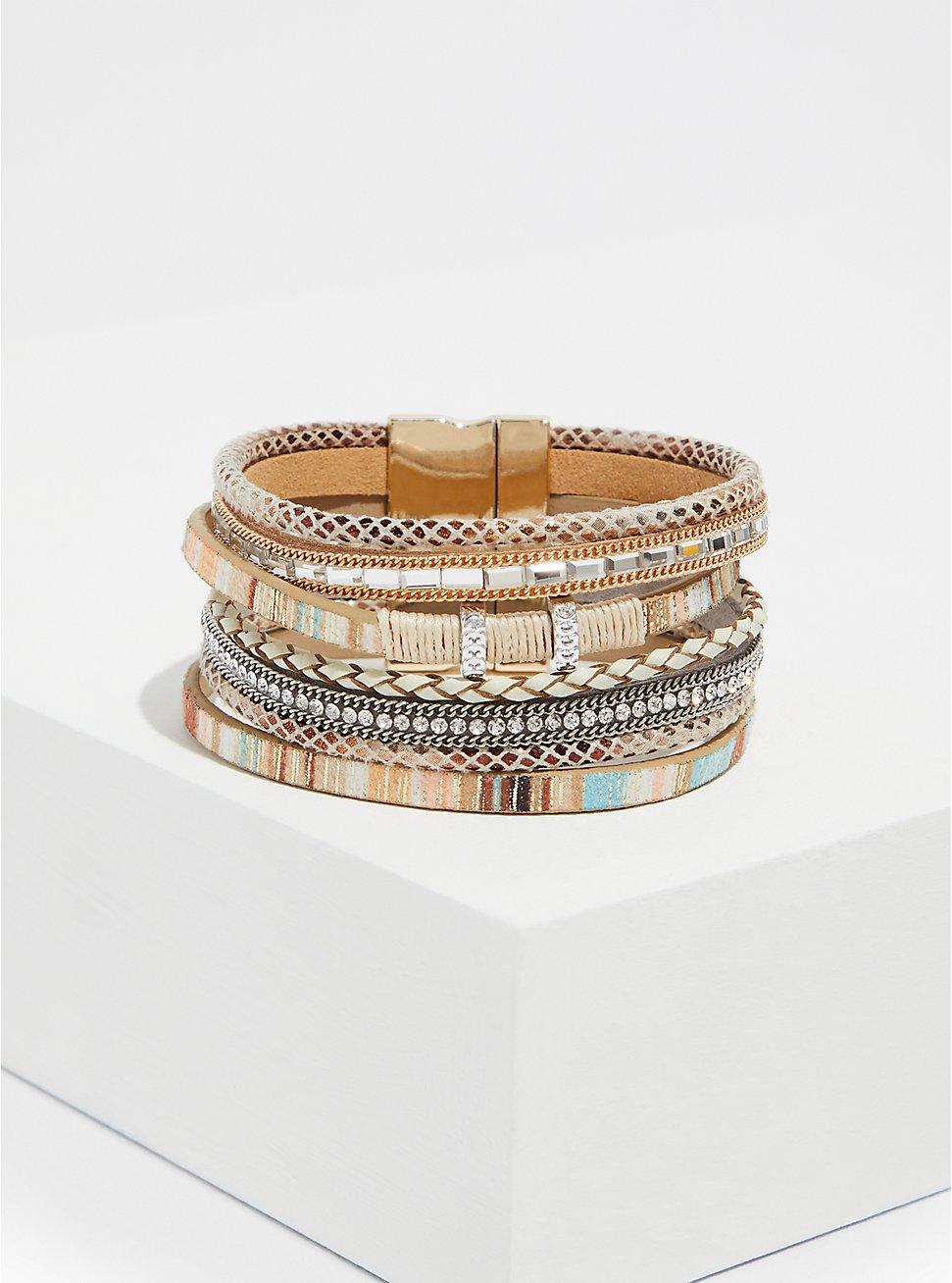 Multi Stripe Faux Leather Magnetic Bracelet , IVORY, hi-res