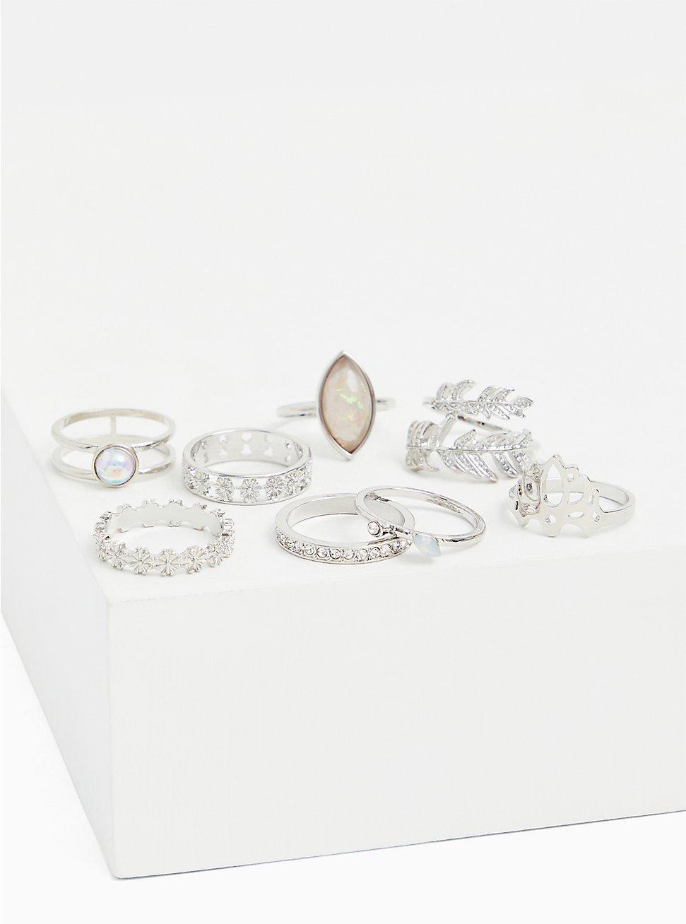 Silver-Tone Rhinestone Leaf Ring Set - Set of 8, SILVER, hi-res