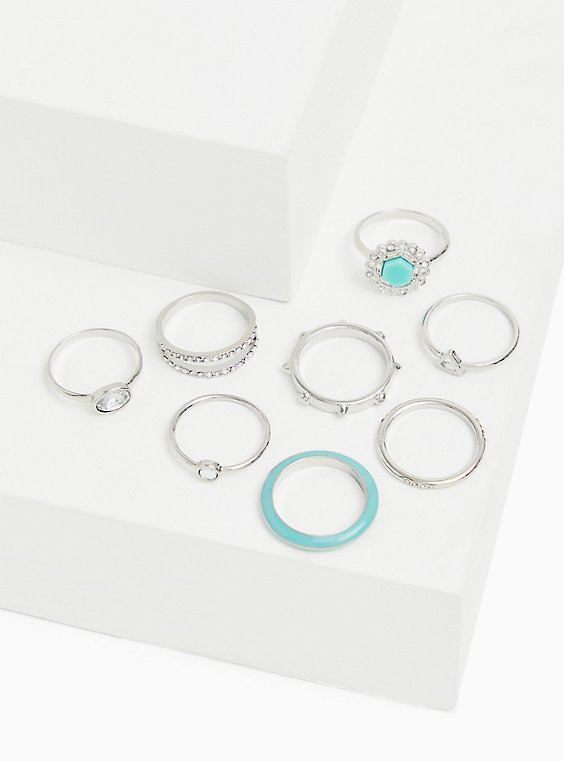 Silver-Tone & Mint Blue Faux Stone Ring Set - Set of 8, , hi-res