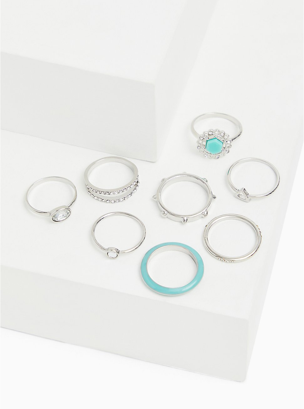 Silver-Tone & Mint Blue Faux Stone Ring Set - Set of 8, TURQUOISE, hi-res