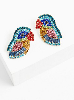 Multi Faux Stone Parrot Statement Earrings, , alternate