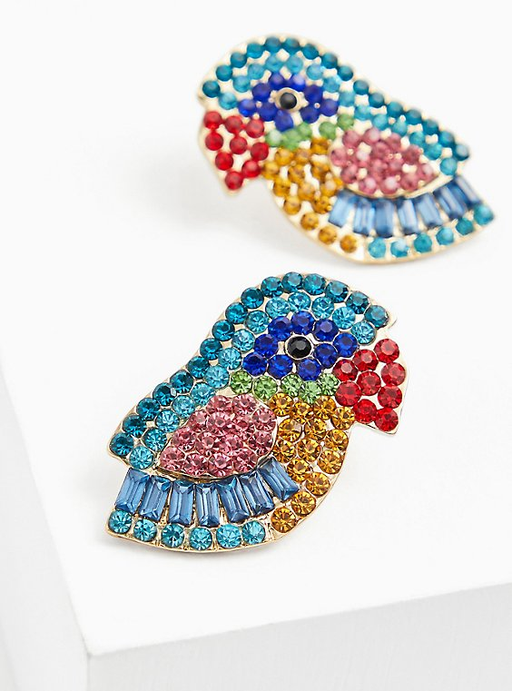 Multi Faux Stone Parrot Statement Earrings, , hi-res