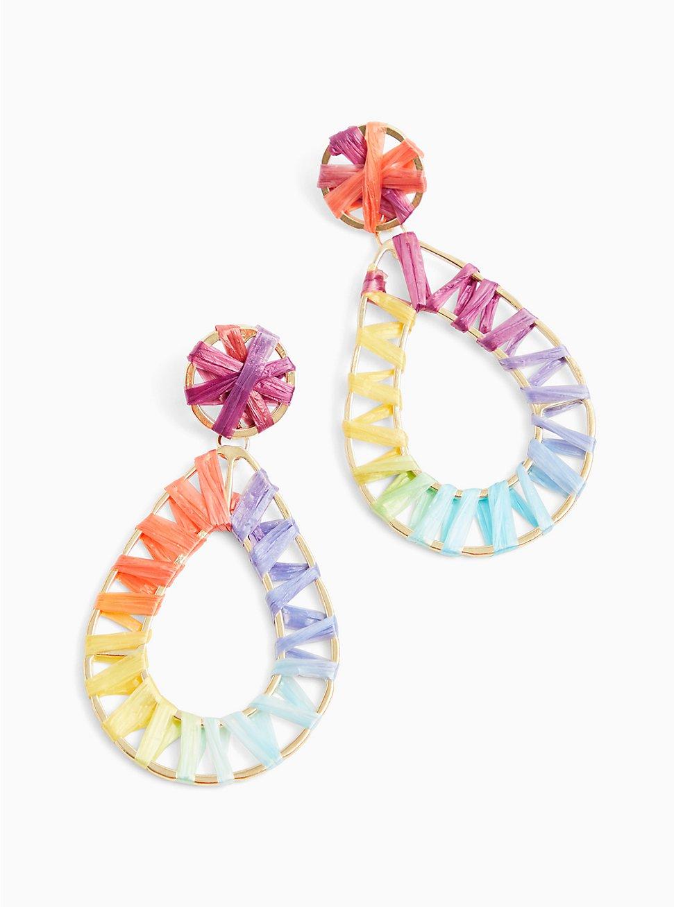 Plus Size Rainbow Wrap Teardrop Earrings , , hi-res