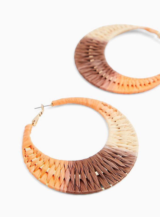 Multicolored Colorblock Straw Hoop Earrings , , hi-res