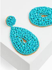 Turquoise Seed Bead Teardrop Earrings , , hi-res