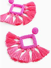 Hot Pink Diamond Beaded Tassel Earrings, , hi-res