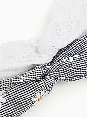 Plus Size Black Gingham Daisy Twist Headband Pack - Pack of 2, , alternate