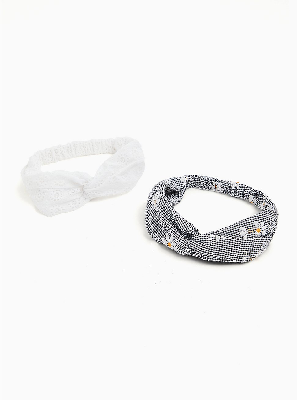 Plus Size Black Gingham Daisy Twist Headband Pack - Pack of 2, , hi-res
