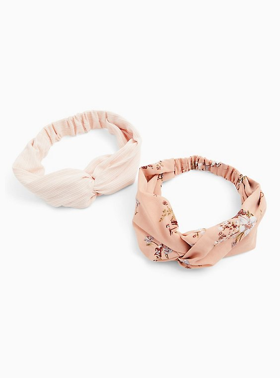 Plus Size Peach Floral Twist Headband Pack - Pack of 2, , hi-res