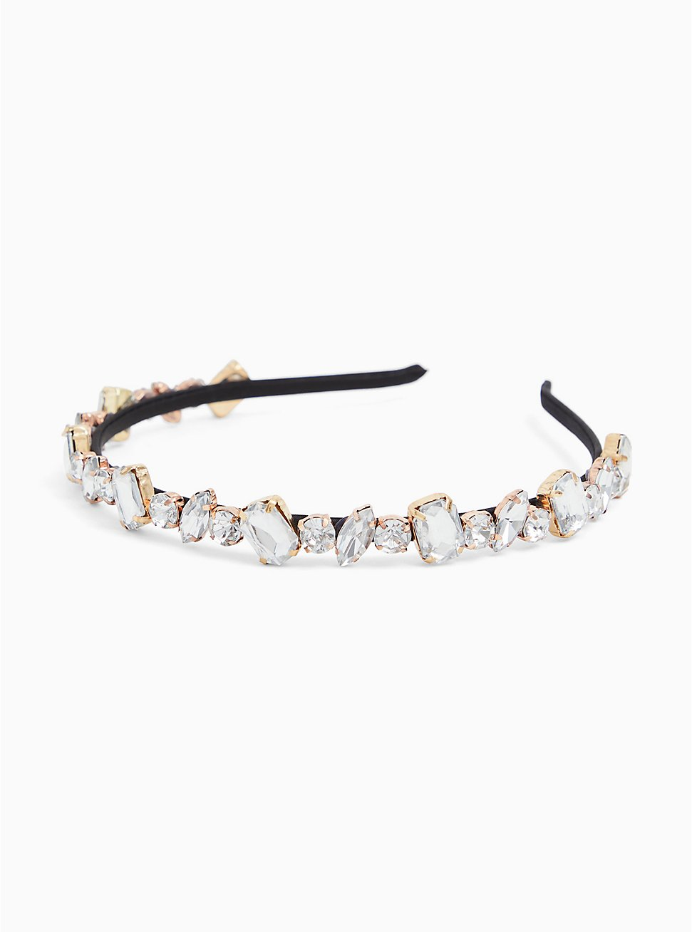 Black Faux Crystal Headband, , hi-res