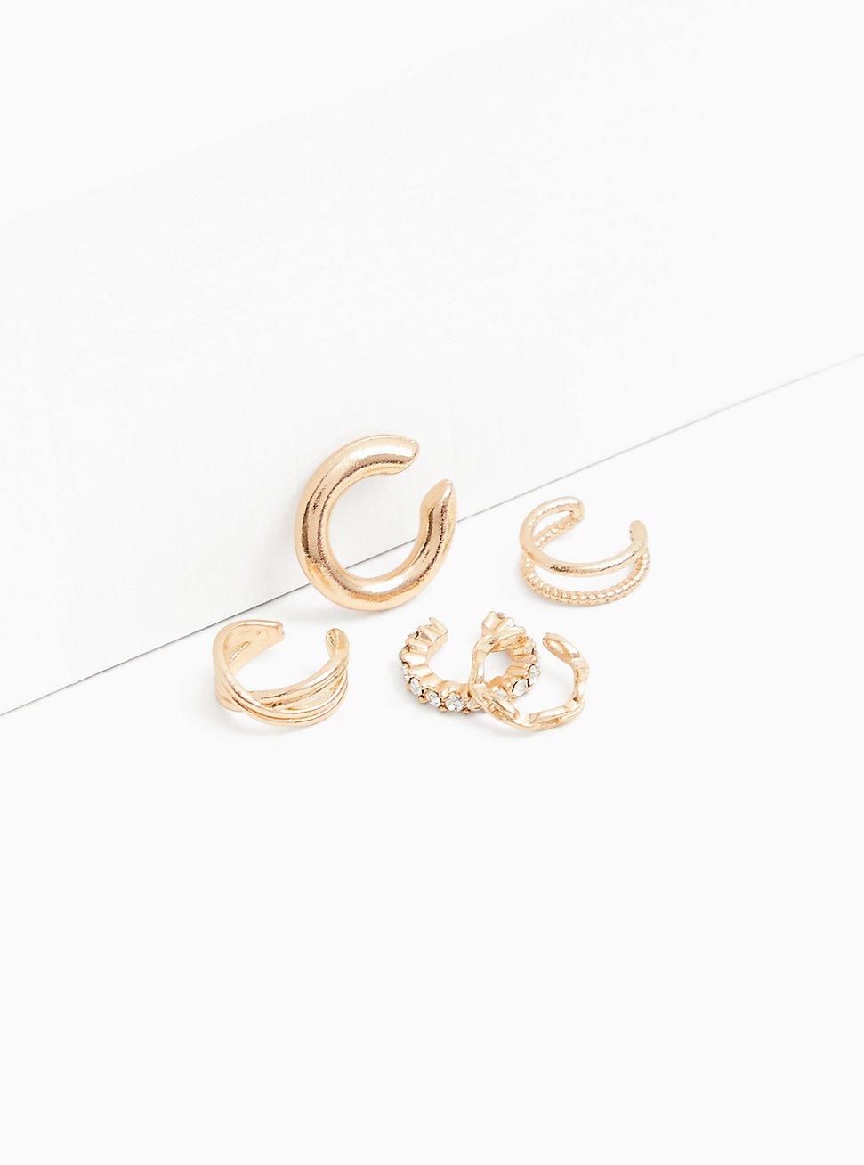 Gold-Tone Ear Cuff Set - Set of 5, , hi-res