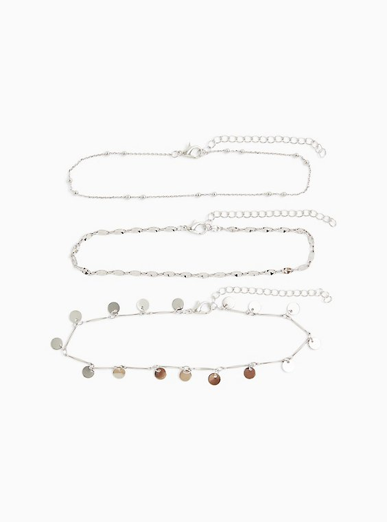 Plus Size Silver-Tone Anklet Set - Set of 3 , , hi-res