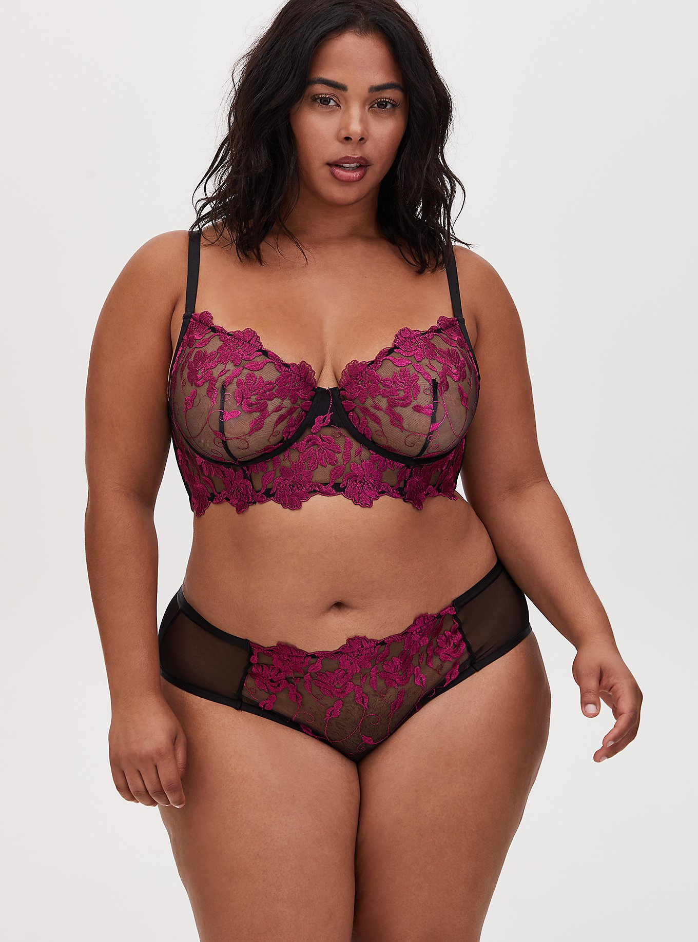 Plus Size Berry Pink Mesh Embroidered Unlined Underwire Bralette and Hipster Panty, , hi-res