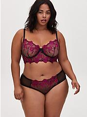 Black Mesh & Berry Pink Embroidery Unlined Underwire Bralette, NAVARRA, alternate