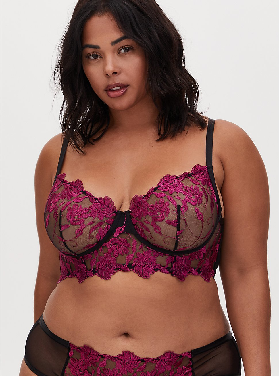 Plus Size Black Mesh & Berry Pink Embroidery Unlined Underwire Bralette, , hi-res