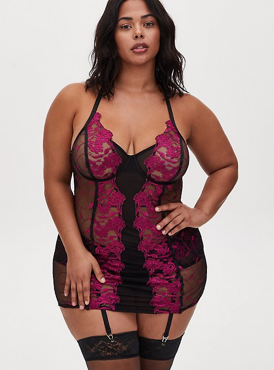 Black Mesh & Berry Pink Embroidered Chemise, , hi-res