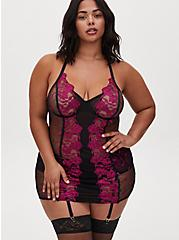 Black Mesh & Berry Pink Embroidered Chemise, NAVARRA, hi-res