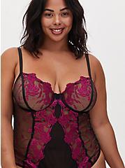 Black Mesh & Berry Pink Embroidered Bodysuit, NAVARRA, alternate