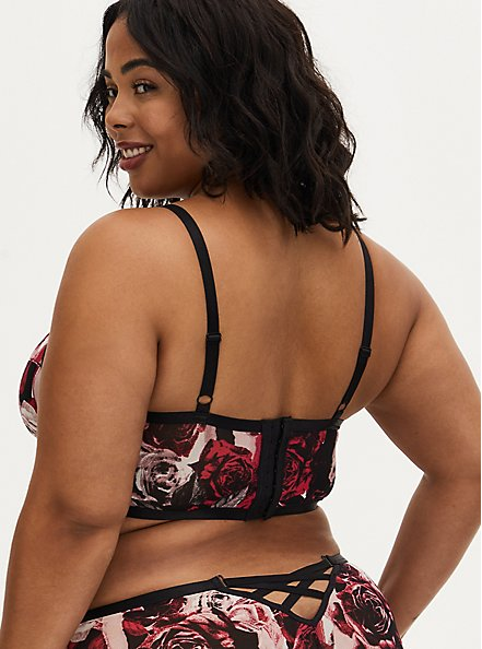 Black & Red Rose Power Mesh Strappy Unlined Underwire Longline Bralette, TORN ROSE FLORAL BLACK, alternate