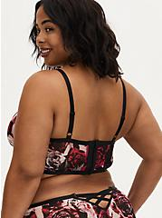 Plus Size Black & Pink Rose Power Mesh Strappy Unlined Underwire Longline Bralette, TORN ROSE FLORAL BLACK, alternate