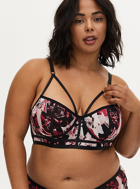 Plus Size Black & Pink Rose Power Mesh Strappy Unlined Underwire Longline Bralette, TORN ROSE FLORAL BLACK, hi-res