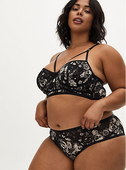 Black Skull Floral Power Mesh Strappy Unlined Underwire Longline Bralette, BOUQUET BLACK FLORAL, alternate