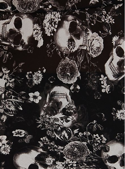 Black Skull Floral Chiffon & Lace Trim Sleep Cami, BOUQUET BLACK FLORAL, alternate