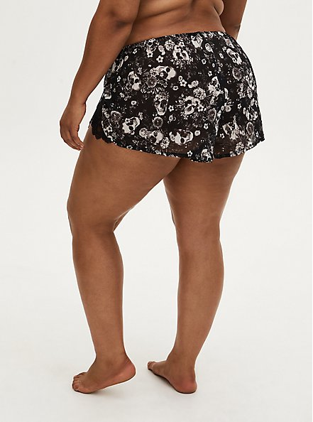 Black Skull Floral Chiffon Lace Inset Dolphin Sleep Short, BOUQUET BLACK FLORAL, alternate
