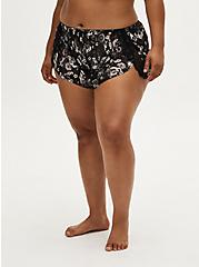 Plus Size Black Skull Floral Chiffon Lace Inset Dolphin Sleep Short, BOUQUET BLACK FLORAL, alternate