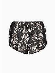 Black Skull Floral Chiffon Lace Inset Dolphin Sleep Short, BOUQUET BLACK FLORAL, hi-res