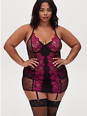 Black Mesh & Berry Pink Embroidered Garter Belt, NAVARRA, alternate