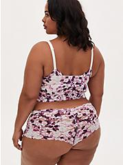 Plus Size White & Purple Floral Lace Unlined Bralette, BEYOND WATERCOLOR FLORAL WHITE, alternate