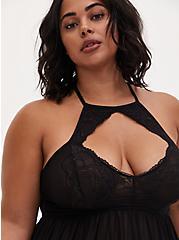 Plus Size Black Lace & Mesh High Neck Keyhole Babydoll, RICH BLACK, alternate