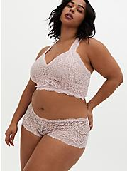Breast Cancer Awareness - Light Pink Lace Unline Fixed Strap Raceback Bralette , LOTUS, alternate